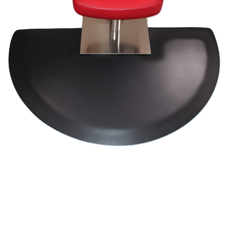 "Vegas Heel-Proof Beauty Salon Mat 3' X 5' X 1"" Semi-Circle Black w/Square Base"