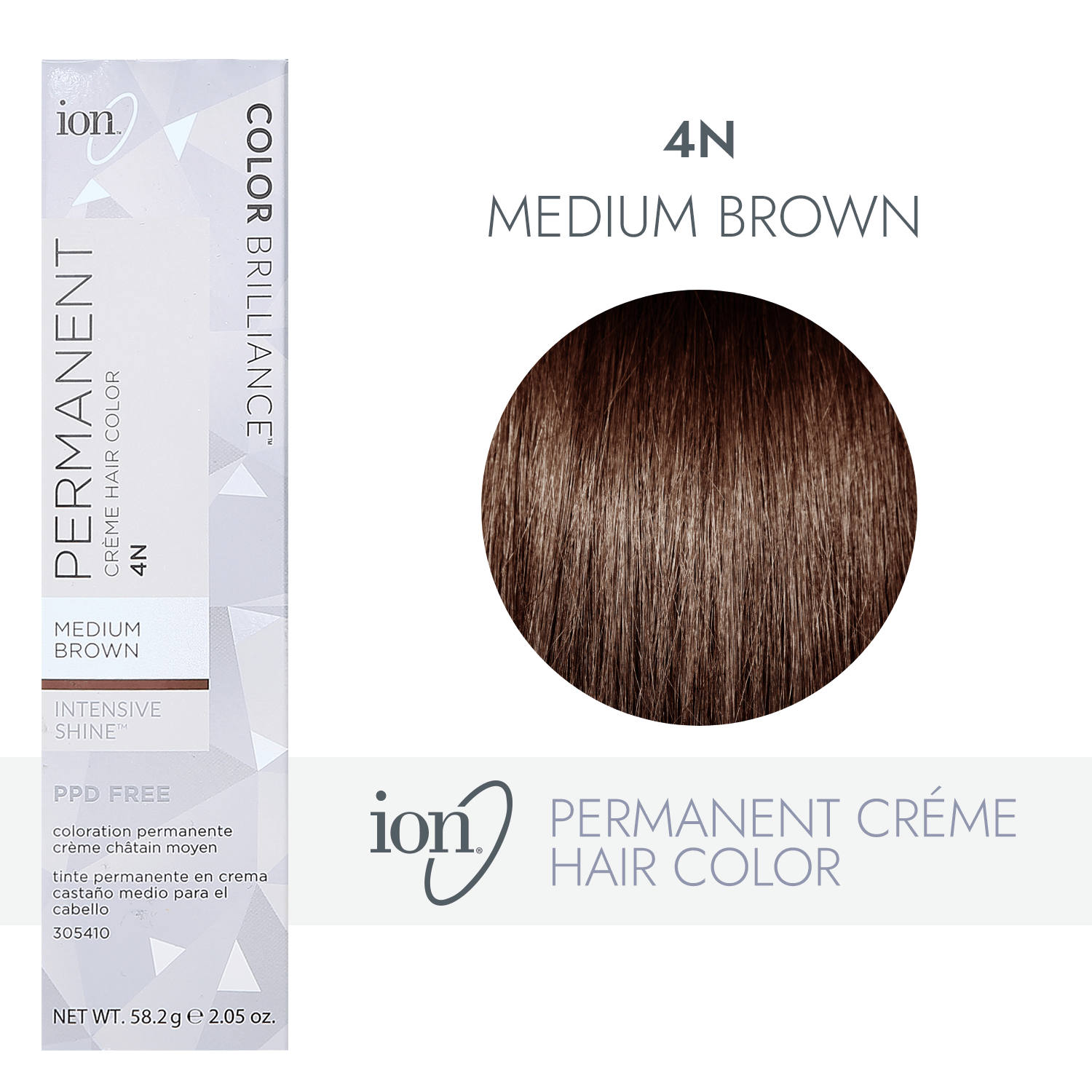 Ion 4n Medium Brown Permanent Creme Hair Color By Color