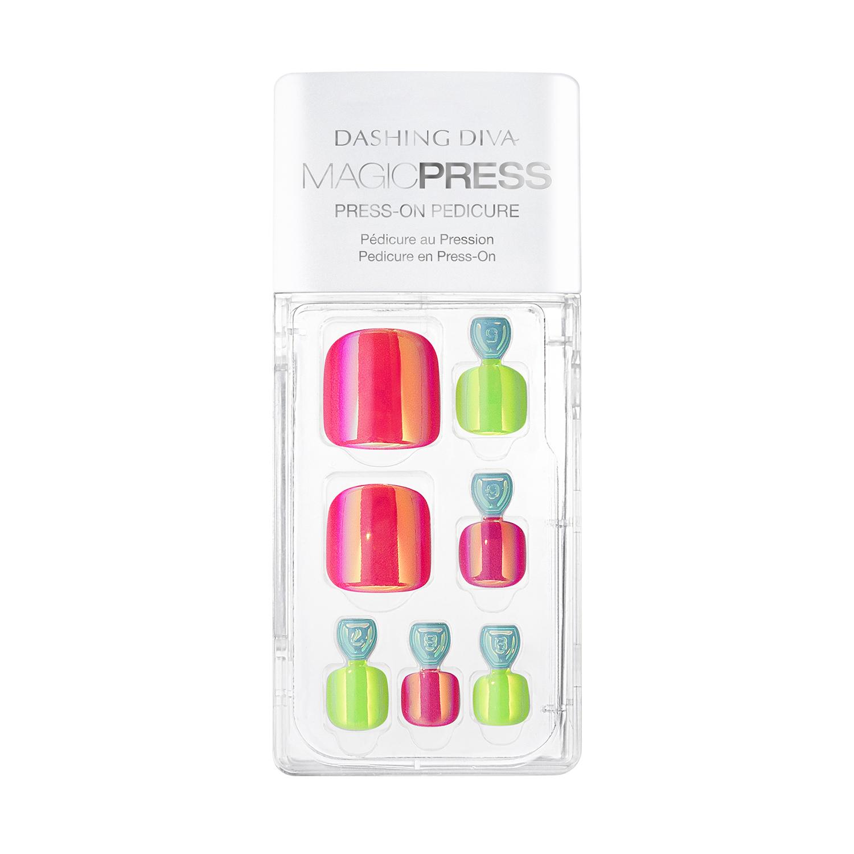Dashing Diva Press On Toe Nails Neon Glow